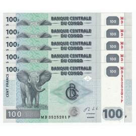 Congo D.R. 100 Francs X 5 PCS, 2013, P-98, UNC