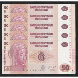 Congo D.R. 50 Francs X 5 PCS, 2013, P-97, UNC