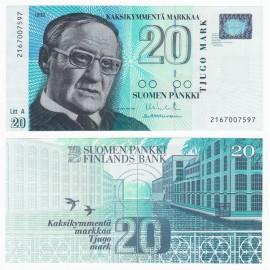 Finland 20 Markkaa, Litt A, 1993 (1997), P-123, UNC