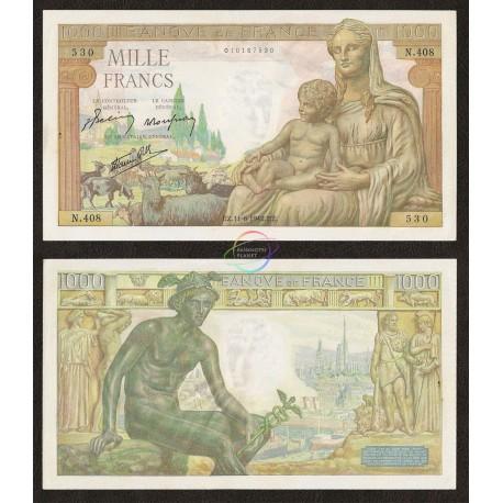 France 1,000 Francs, 1942, P-102, AUNC W/H