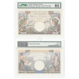 France 1,000 Francs, 1944, P-96c, PMG 64 EPQ UNC