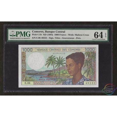 Comoros 1,000 Francs, Nice Serial, 1984, P-11b, PMG 64 EPQ UNC