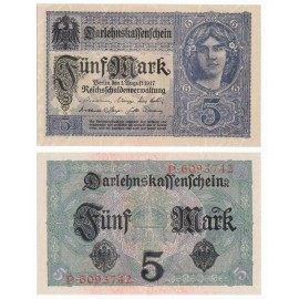Germany 5 Mark, 7 Digit Serial, 1917, P-56a, AUNC