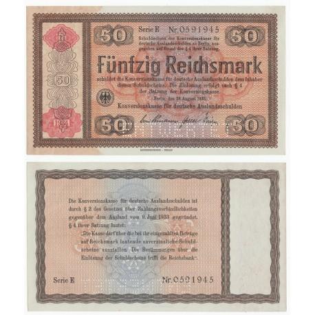 Germany 50 Reichsmark, 1934, P-211, Konversionskasse, ENTWERTET, AUNC