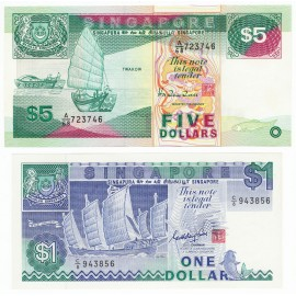 Singapore 1, 5 Dollars Set 2 PCS, 1987 1989, P-18, 19, UNC