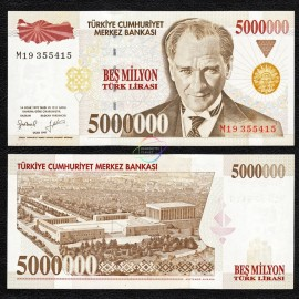 Turkey 5,000,000 Lira, 1997, P-210, UNC