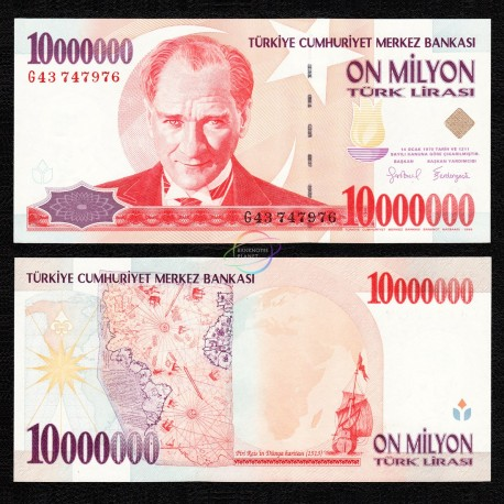 Turkey 10,000,000 Lira, 1999, P-214, UNC