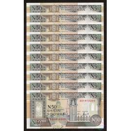Somalia 50 Shillings X 10 PCS, 1991, P-R2, UNC
