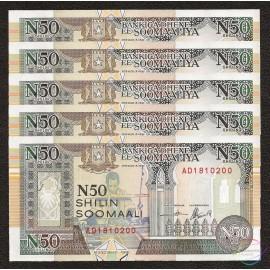 Somalia 50 Shillings X 5 PCS, 1991, P-R2, UNC