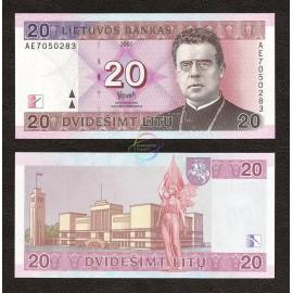 Lithuania 20 Litu, 2001, P-66, UNC