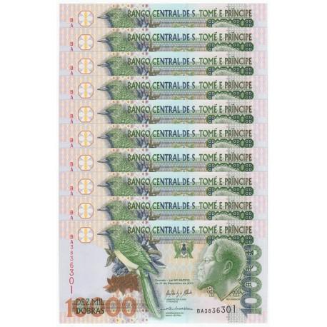 St. Thomas & Prince 10,000 Dobras X 10 PCS, 2013, P-66, UNC