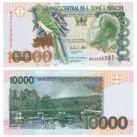 St. Thomas & Prince 10,000 Dobras, 2013, P-67, UNC