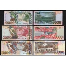 St. Thomas & Prince 10,000, 20,000, 50,000 Dobras Set 3 PCS, 2010 2013, P-66, 67, 68, UNC