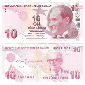 Turkey 10 Lira, 2009 (2012), P-223, UNC