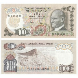 Turkey 100 Lira, 1972, P-189, UNC