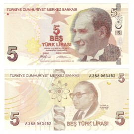 Turkey 5 Lira, 2009, P-222a, UNC