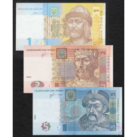 Ukraine 1, 2, 5 Hryven Set 3 PCS, 2013 2014, P-116, 117, 118, UNC