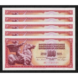 Yugoslavia 100 Dinara X 5 PCS w/Security Thread, 1965, P-80c, UNC