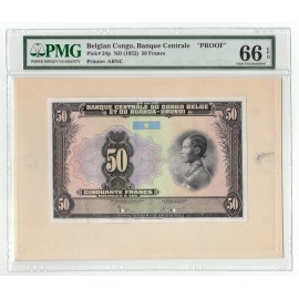 Belgian Congo 50 Francs, ND 1952, P-24, Proof, PMG 66 EPQ UNC