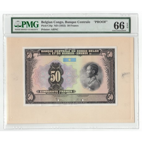 Belgian Congo 50 Francs, ND 1952, P-24, Proof, PMG 66 EPQ UNC