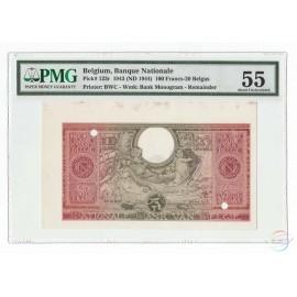 Belgium 100 Francs-20 Belgas, 1943 (ND 1944), P-123, Remainder, PMG 55 About UNC