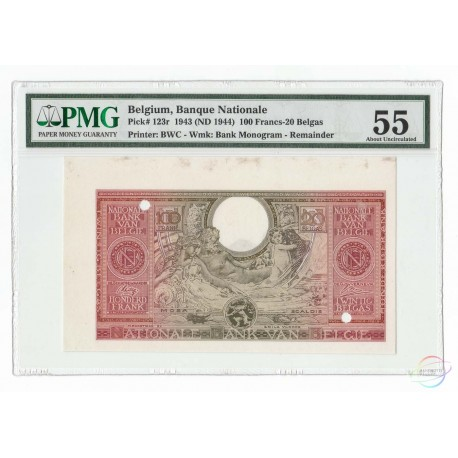 Belgium 100 Francs-20 Belgas, 1943 (ND 1944), P-123, Remainder, PMG 55 About UNC