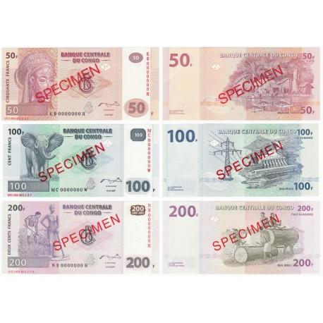 Congo D.R. 50, 100, 200, Francs SPECIMEN Set 3 PCS, 2007, P-97s, 98s, 99s, UNC