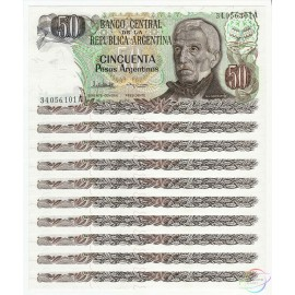 Argentina 50 Pesos Argentinos X 10 PCS, 1983-85, P-314, UNC