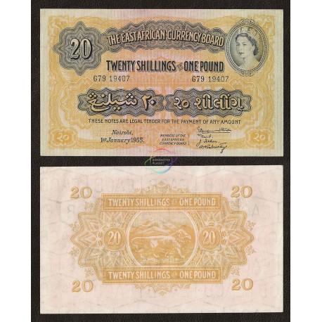 East Africa 20 Shillings, QE II, 1955, P-35, AUNC