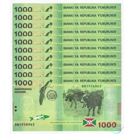 Burundi 1,000 Francs X 10 PCS, 2015, P-51, UNC
