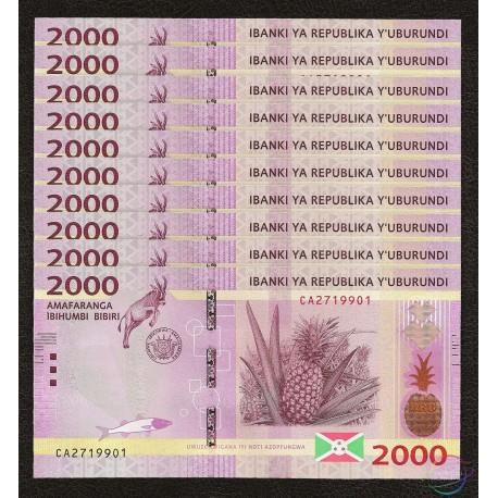 Burundi 2,000 Francs X 10 PCS, 2015, P-52, UNC