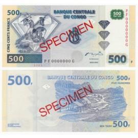 Congo D.R. 500 Francs, Specimen, 2002, P-96s, UNC