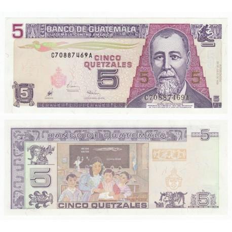 Guatemala 5 Quetzales, 1998, P-100, UNC