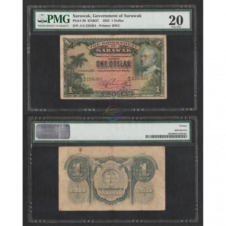 Sarawak 1 Dollar, 1935, P-20, PMG 20 VF
