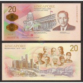 Singapore 20 Dollars, Commemorative, 2019, P-New, Polymer, UNC