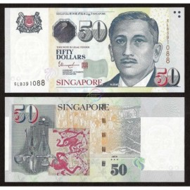 Singapore 50 Dollars, 3 Stars, 2018 2019, P-49, UNC