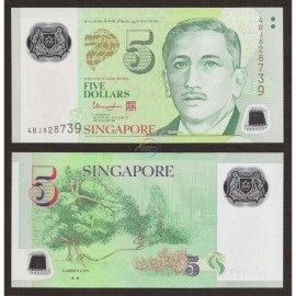 Singapore 5 Dollars, 2 Triangles, 2014, P-47c, Polymer, UNC