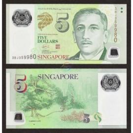 Singapore 5 Dollars, 1 Square, 2010, P-47b, Polymer, UNC