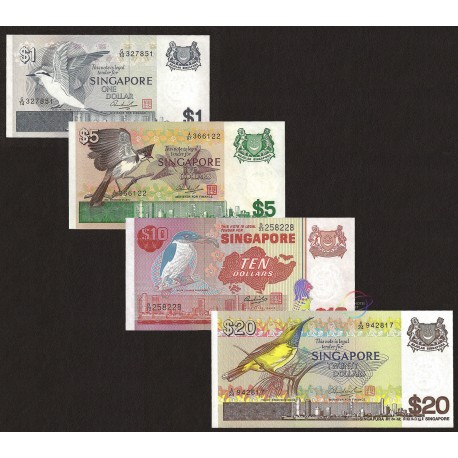 Singapore 1, 5, 10, 20 Dollars Set, 1976-80, P-9, 10, 11b, 12, UNC