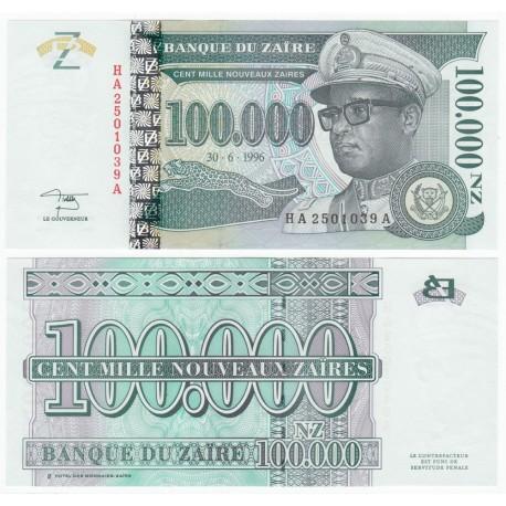 Zaire 100,000 Nouveaux Zaires, 1996, P-77A, UNC