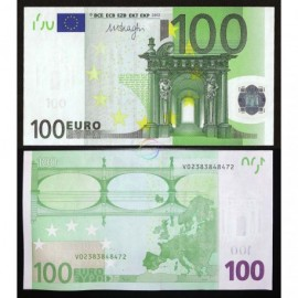 European Union 100 Euro, Prefix V, Spain, Sign Draghi, 2002, UNC