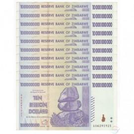Zimbabwe 10 Billion Dollars X 10 PCS, P-85, 2008, XF-AU