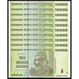 Zimbabwe 10 Trillion Dollars X 10 PCS, P-88, 2008, UNC