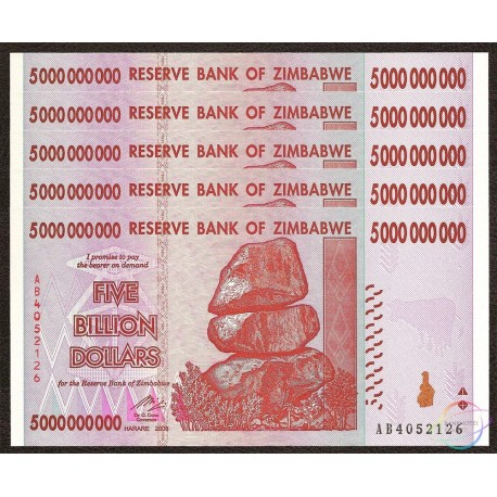 Zimbabwe 5 Billion Dollars X 5 PCS, 2008, P-84, UNC