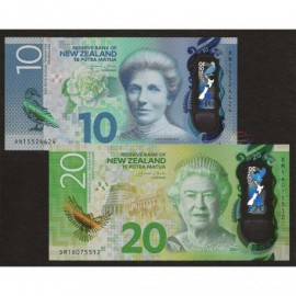 New Zealand 10 20 Dollars Set 2 PCS, 2015 2016, P-192 193, Polymer, UNC