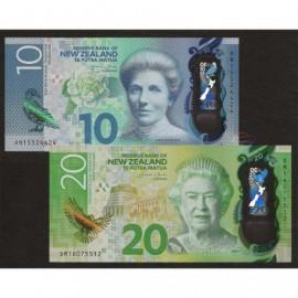 New Zealand 10 20 Dollars Set 2 PCS, 2015 2016, P-192 193, Polymer, UNC