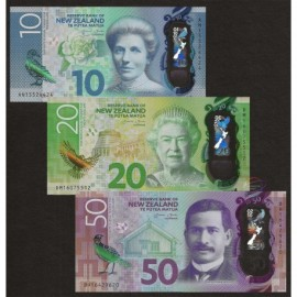 New Zealand 10 20 50 Dollars Set 3 PCS, 2015 2016, P-192 193 194, Polymer, UNC