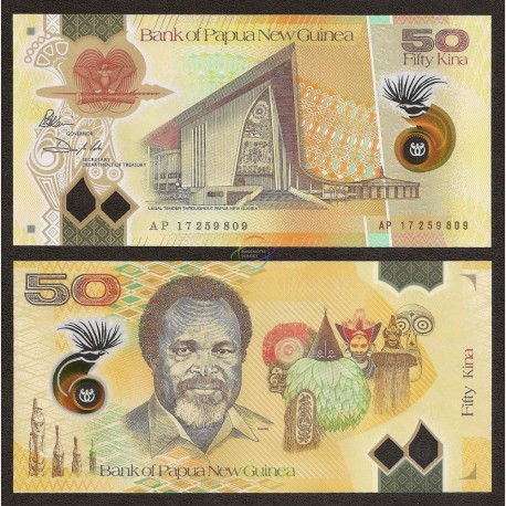 Papua New Guinea 50 Kina, Sign 12, 2017 (2018), P-New, Polymer, UNC