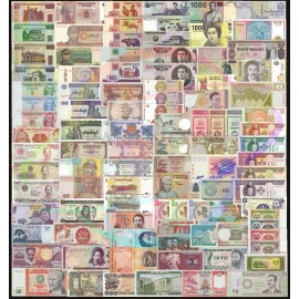 World 100 PCS Uncirculated Banknotes Set 52 Different Countries UNC