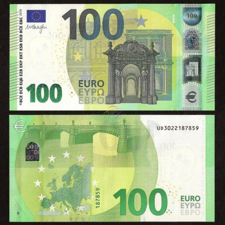 European Union 100 Euro, Prefix UD, France, Sign Draghi, 2019, UNC